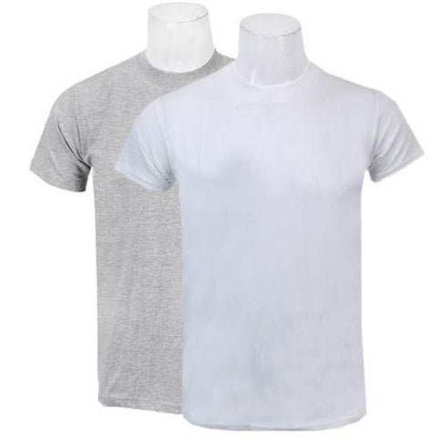 Pack Of Two Solid T-Shirt For Men/ Women -(Grey/White)
