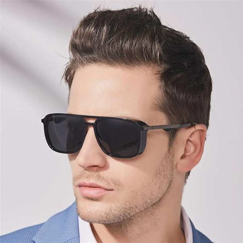 Fashion Color Luxury Flat Top Trendy Korean Sunglasses-Men