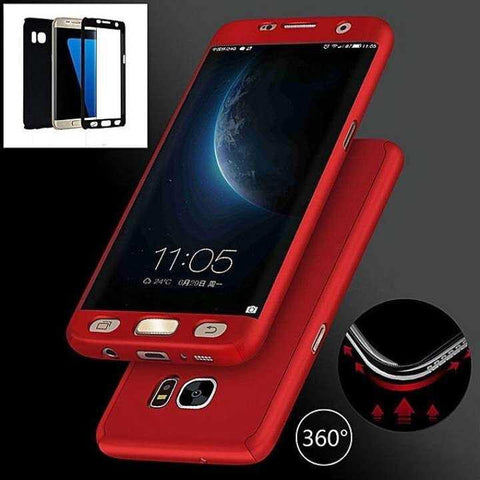 360 Case For Samsung S6 With Tempered Glass- Red360 Case For Samsung S6 With Tempered Glass- Red