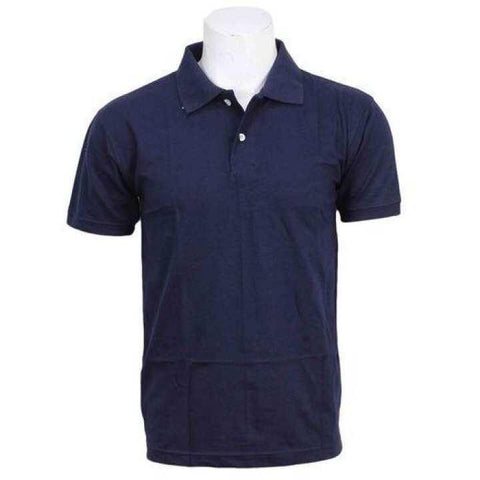 Navy Blue Solid Polo Neck T-Shirt For Men