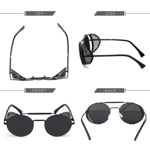Black Vintage Retro Steampunk Gothic Side Shield Hipster Round Sunglasses