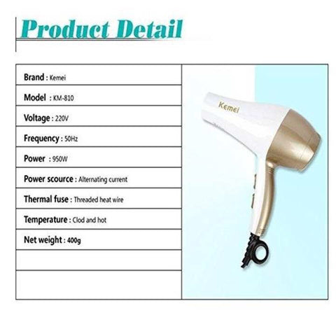 Km-810 Hair Dryer Smoothstay Professional Ceramic Tourmaline