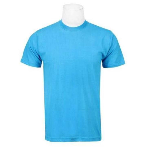 Turquoise Solid Round Neck T-Shirt For Men/ Women