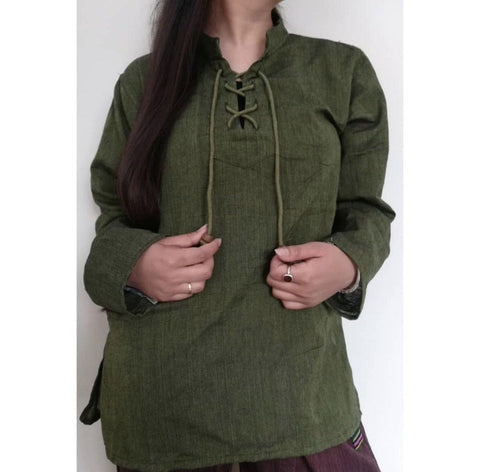 Green Dhori Kurta Shirt For Women