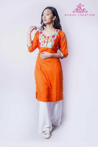 Orange/White Rayon Floral Embroidered Kurti Palazzo Set