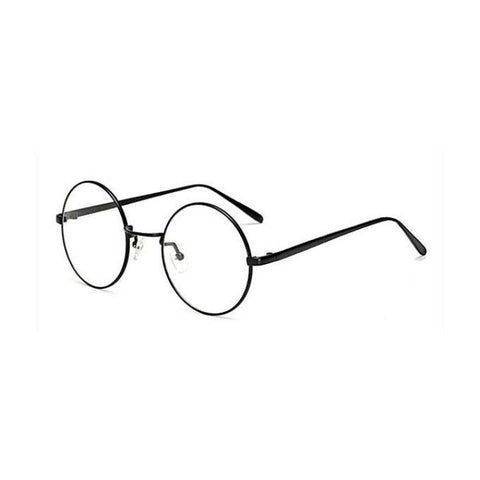 Black Retro Round Metal Frame Clear Lens Glasses For Women