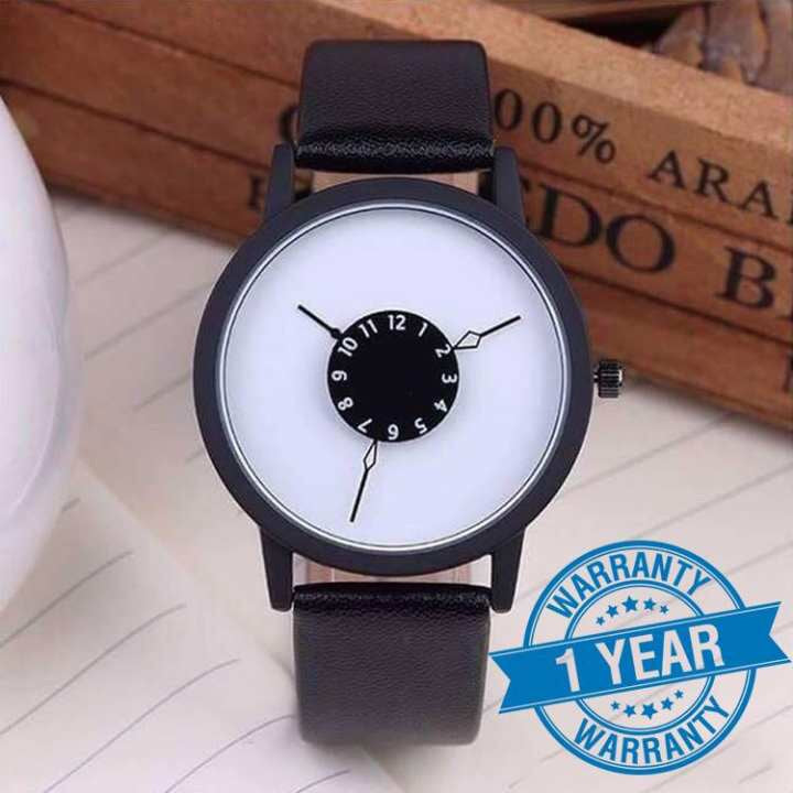 PAIDU Turntable Dial Fashion Unisex Leather Band Quartz Wrist Watch