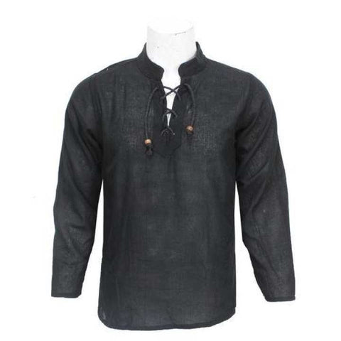 Black Front Laced Kurta Shirt For Men / Women