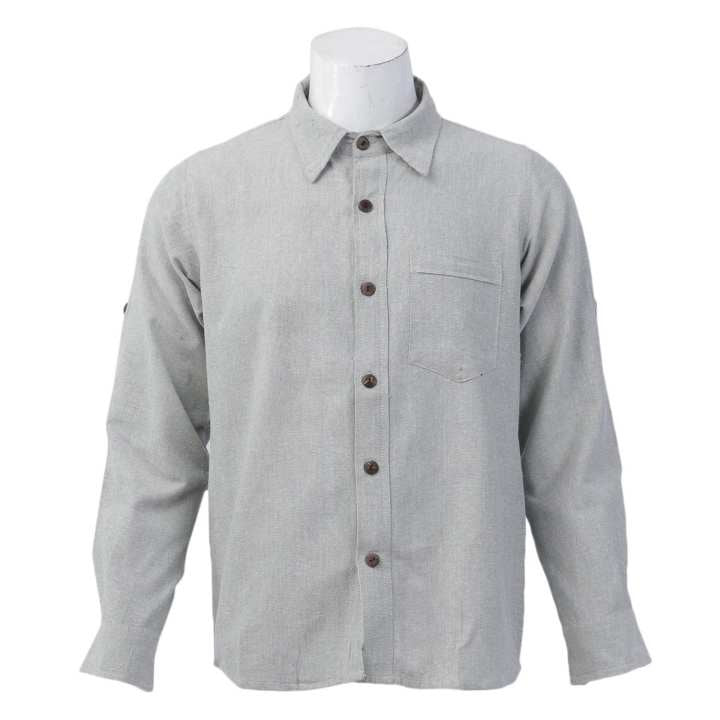 Light Gray Cotton Casual Shirt For Men
