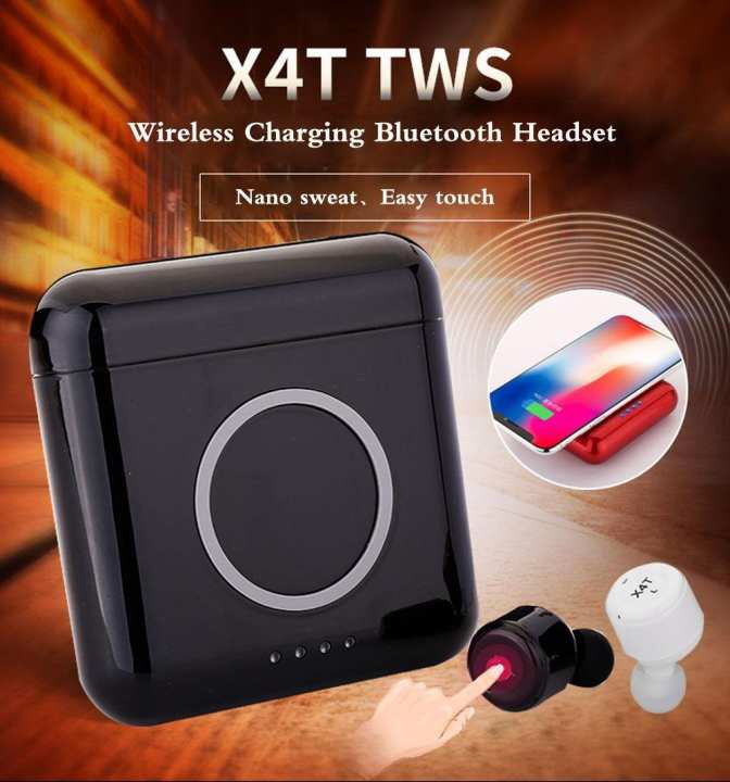 Generic X4T Twins Earbuds TWS Wireless Earphones Bluetooth 4.2 Stereo Headphone with Mic Sport Headset And Wireless Charger