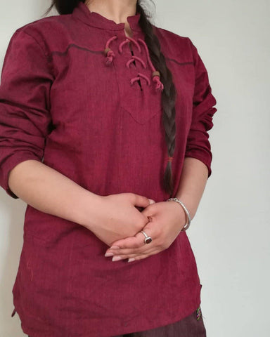 Marron Dhori Kurta Shirt For Women