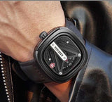 Kademan Casual Stylish Analog Leather Watch For Men- Black
