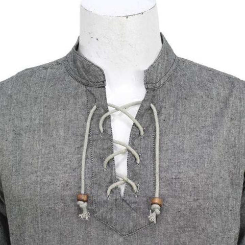 Grey Front Laced Kurta Shirt For Men / Women