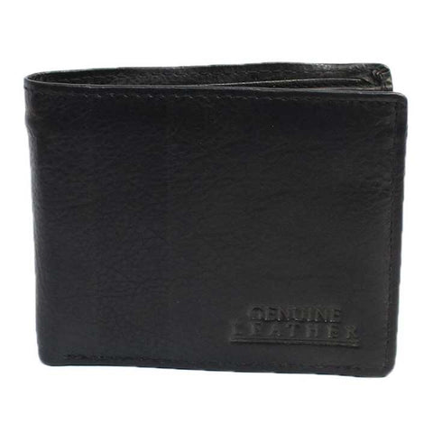 Black Genuine Leather Bi-Fold Wallet For Men