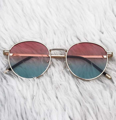 Round Trendy Light Pink Green Shades Sunglasses