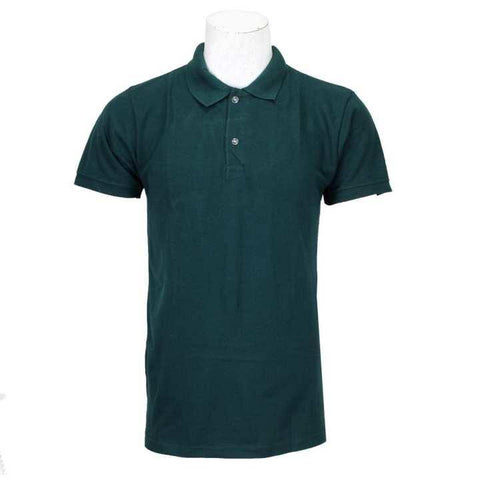 Dark Green Solid Polo Neck 100% Cotton T-Shirt For Men