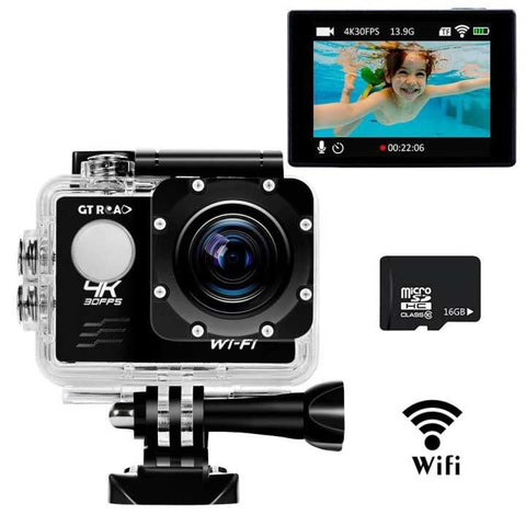 Ultra HD Action Camera with Wifi,Sports Action Cam By GT ROAD,Waterproof 98 Feet(30m)+170? Wide Angle Lens+2.0 Inch LCD Screen+16GB TF Card as A Gift Included