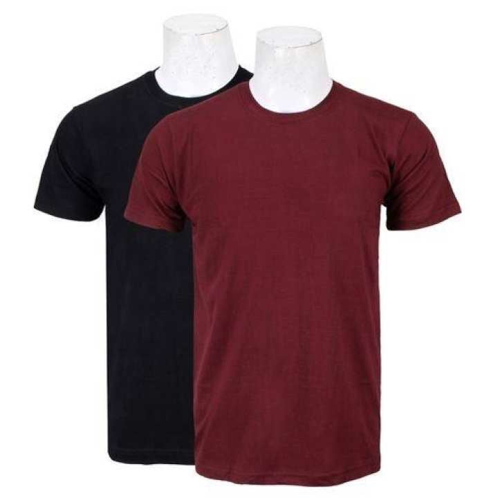 Pack Of Two Solid T-Shirt For Men-(Black/Maroon)