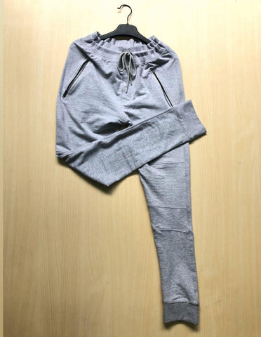 Grey Designed Patchwork Lace-Up Men Casual Sport Pant