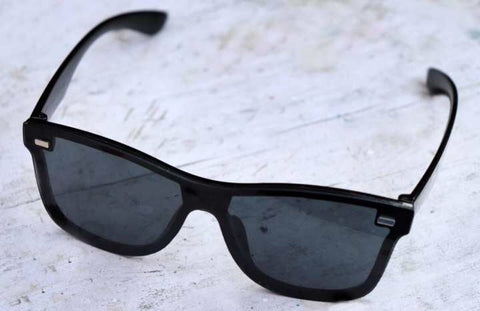 Vintage black single glasses Rimless Square frame Flat Sunglass