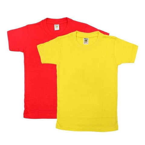 Pack Of Two Solid T-shirt For Boys - (Red/Yellow)