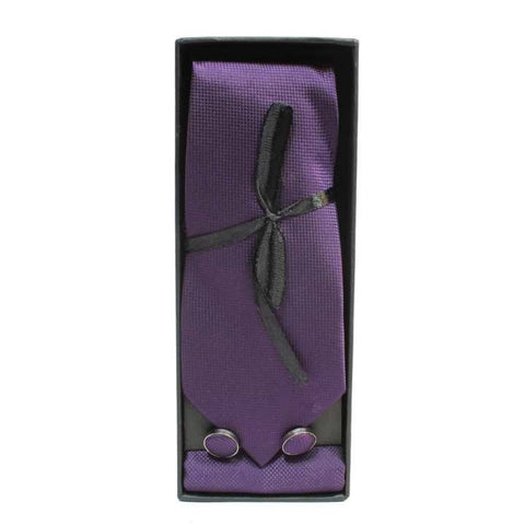 Purple Solid Checkered Tie Set (Cufflinks + Pocket Square)