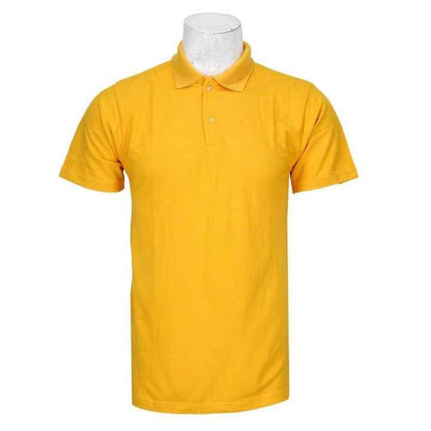Yellow Solid Polo Neck 100% Cotton T-Shirt For Men