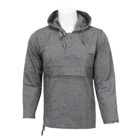Grey Hooded Full Sleeve Kurta Shirt For Men / Women