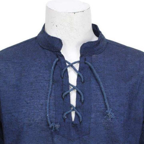 Navy Blue Front Laced Kurta Shirt For Men / Women