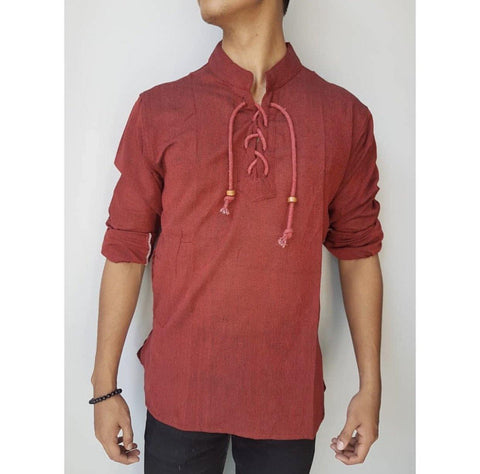 Marron Dhori Kurta Shirt For Men