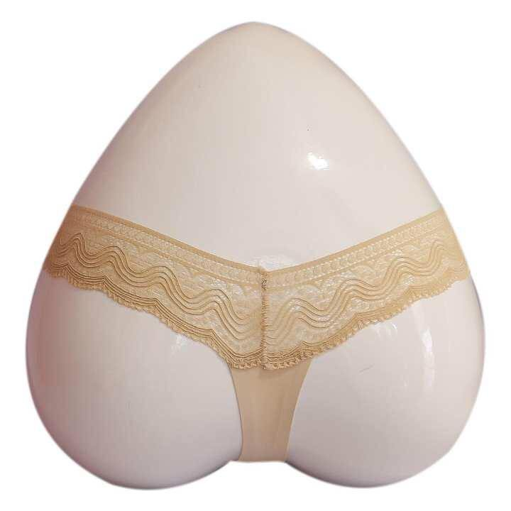 Beige Lace Design Seamless Thong For Women