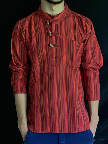 Short Sleeve Stripe Kurta – Red