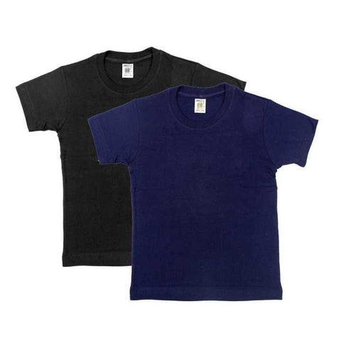 Pack Of Two Solid T-shirt For Boys - (Black/Navy Blue)
