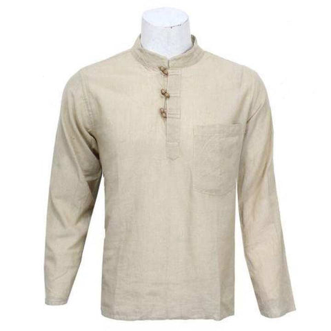 Beige Wooden Buttoned Kurta Shirt For Men / Women