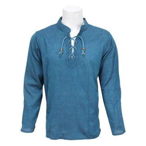 Saphire Blue Front Laced Kurta Shirt For Men / Women