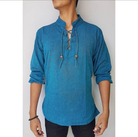 Sky Blue Dhori Kurta Shirt For Men