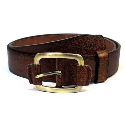 Brown Textured Belt For Men