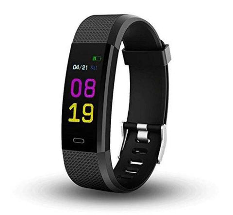 F0S Fitness Gadget/Smart Band Colour Display With Heart Rate & Blood Pressure Monitor (Black)