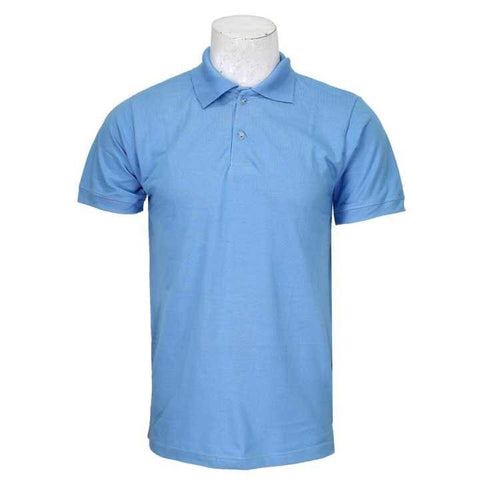 Aqua Blue Solid Polo Neck 100% Cotton T-Shirt For Men