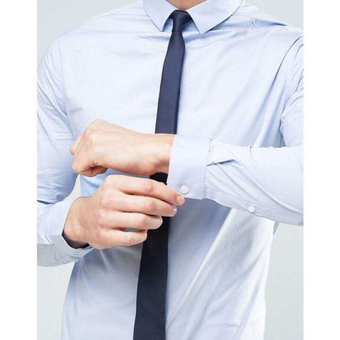 Navy Solid Shiny Tie For Men