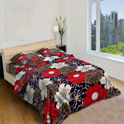 Red Black Floral Printed King Size Bed Sheet