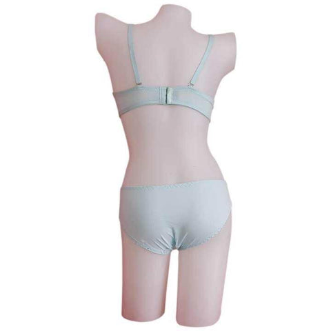 Sky Blue Checkered Lingerie Set For Women