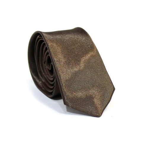 Brown Solid Shiny Tie For Men