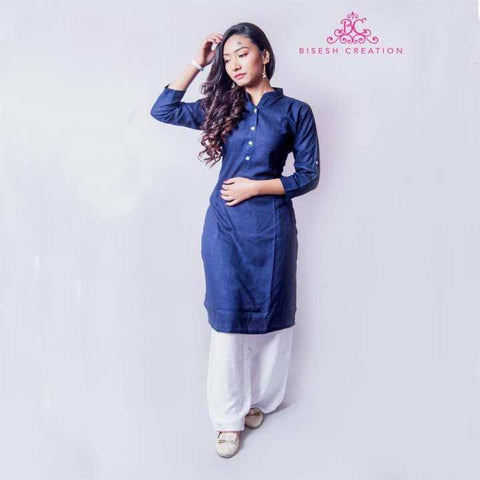 Navy Blue/White Rayon Long Kurti & Palazzo Set For Women