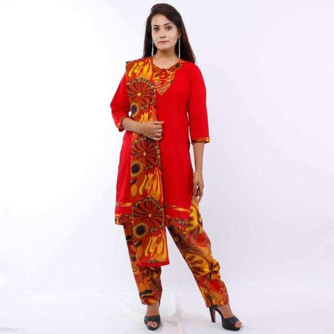 Red Floral Printed Patiala Kurta Salwar Set For Women