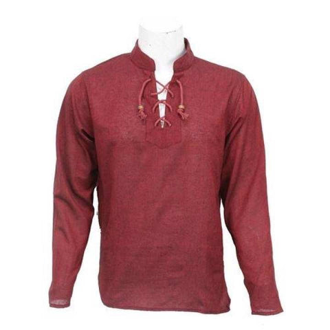 Maroon  Front Laced Kurta Shirt For Men / Women