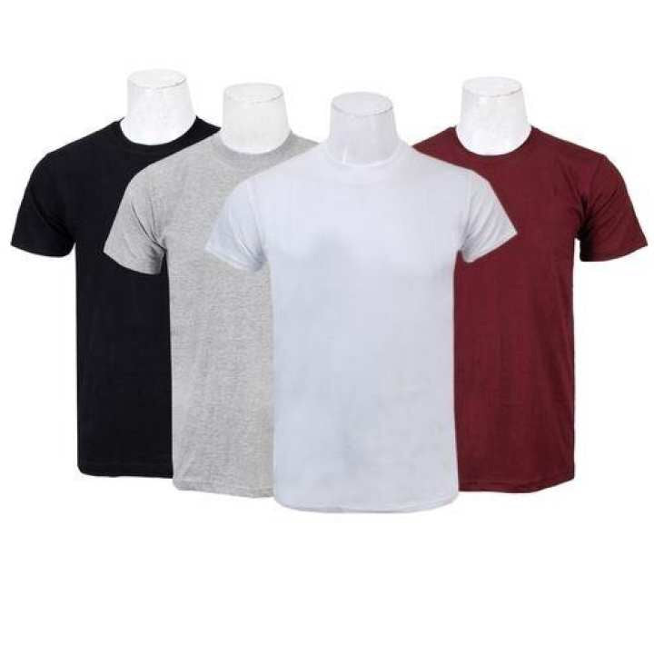 Pack Of Four Solid T-Shirt For Men-(Black/Grey/Maroon/White)