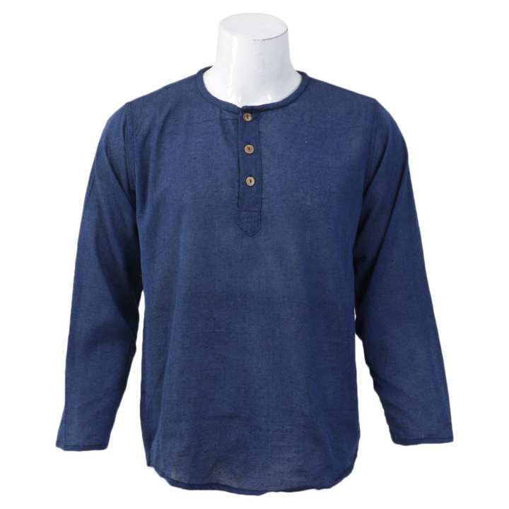 Navy Blue Solid Collar Neck Tops For Men