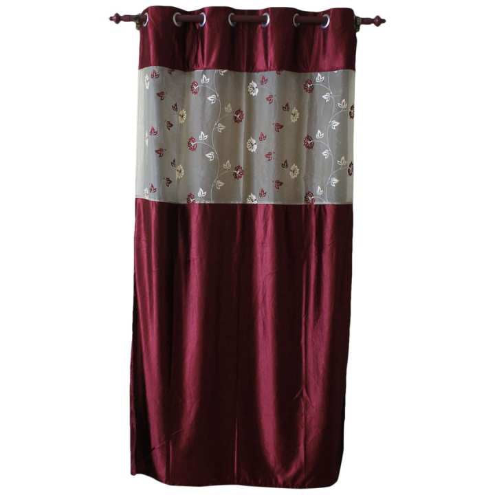 Floral Pattern Cotton Fabric Window/Door Curtain - (Maroon/Dark Brown)