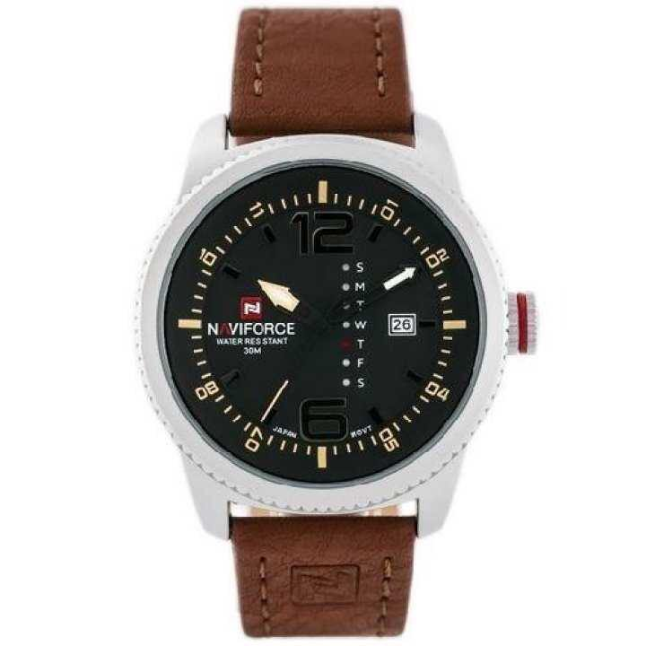 NaviForce NF9063M Date/Day Function Black Dial Analog Watch For Men - Brown/Black